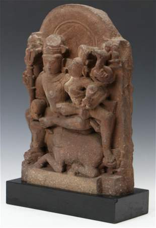 Ancient Stone Carving of Shiva and Parvati Seated On