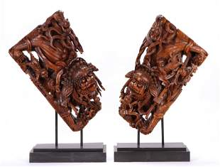 Pair of Chinese Qing Dynasty Carved Wood Temple Corbels