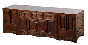 A Finely Carved Antique Chinese Wood Low Cabinet