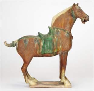 Chinese Sancai Glazed Pottery Tang Dynasty Horse
