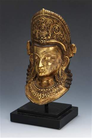 Nepalese Gilt Copper Mask of Indra, early 20th C.