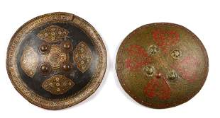 Two Indo-Persian Painted Leather Dhal Shields, 19th