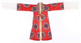 Chinese Red Silk Embroidered Robe, early 20th C.