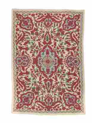 Vintage Kashmiri Woolen Crewel Work Rug