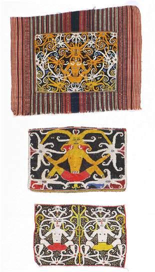 3 Dayak Beadwork Panels, Borneo, early 20th c.