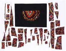 Group of Central Asian Silk Velvet Textile Fragments