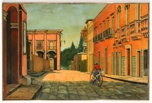 """Nina F. Martino (American, b. 1952) """"Main Square, San"""