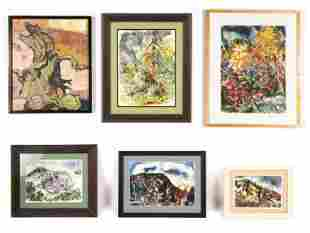 Nora Hauser  (American, 1922-2012) 6 Paintings
