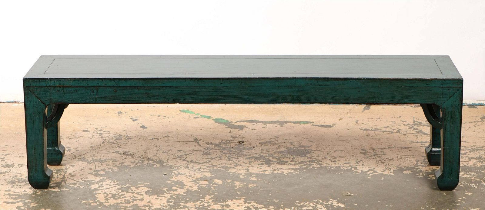 Chinese Blue Painted Wood Bench