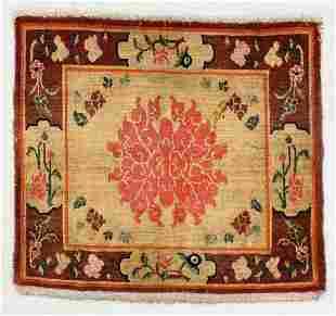 Lotus Blossom Rug, Tibet, Late 19th C., 2'3'' x 2'1''