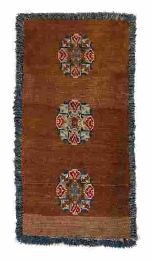 Three Medallion Bedding Rug, Tibet, Circa 1900, 2'5'' x