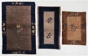 3 Antique Chinese Small Rugs