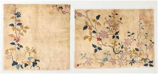 Two Chinese Art Deco Rug Fragments, Early 20th C.