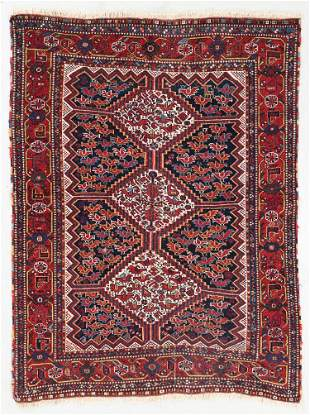 Khamseh Bird Rug, Persia, Circa 1900, 4'3'' x 5'7''