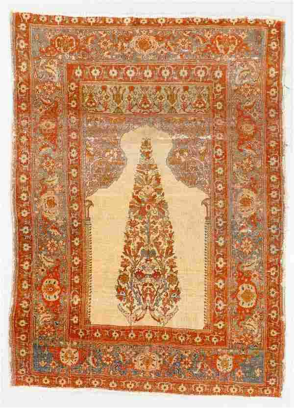 Tabriz Prayer Rug, Persia, Late 19th C., 4'2'' x 5'10''