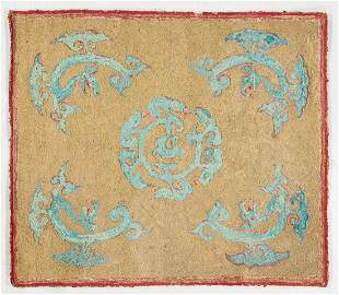 Antique American Hooked Rug in Asian Pattern