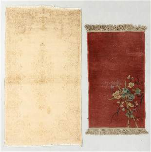 Persian Kerman + Chinese Art Deco Rugs (2)