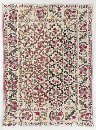 Central Asian Suzani, Late 19th C., 5'0'' x 6'11''