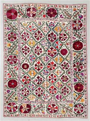 Central Asian Suzani, Late 19th C., 5'5'' x 7'4''