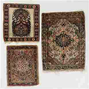 Three Antique Persian Rug Mats