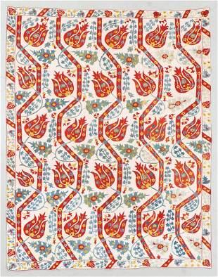Vintage Central Asian Suzani, Uzbekistan, 4'7'' x 5'9''