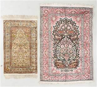 Two Indian Silk Prayer Rugs
