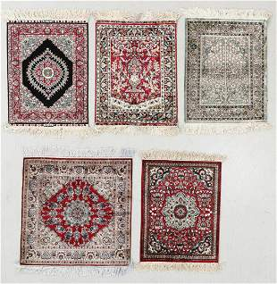 Five Finely Knotted Silk Small Rugs