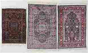 Three Finely Knotted Small Rugs, India