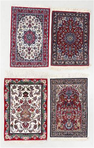 Four Finely Knotted Small Rugs