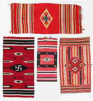 Four Mexican Saltillo/Flatweaves, Early 20th C.