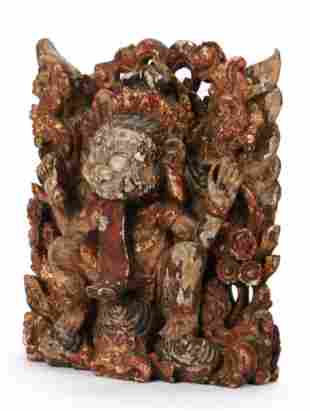 Antique Balinese Carved Wood Rangda Statue