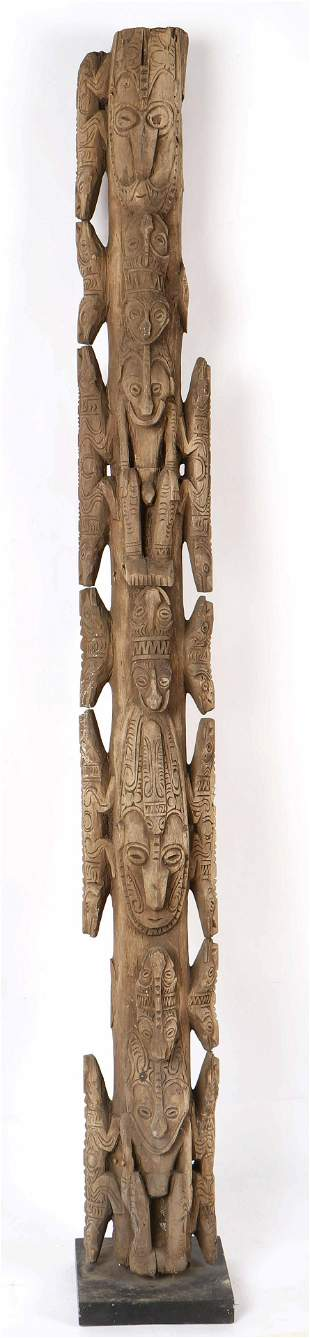 """Exceptional Old Lower Sepik House Post, Ht. 79"""""""