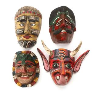 Four Vintage Mexican and Guatemalan Festival Masks