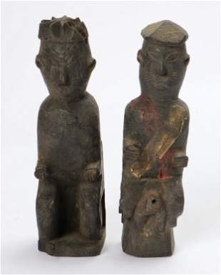 Two Chinese Yao Carved Wood Figures, early-mid 20th C.