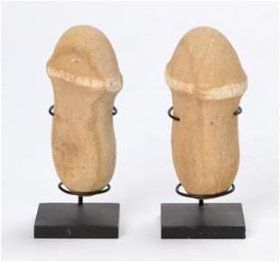 Two Chinese Phallic Carved Stone Amulets
