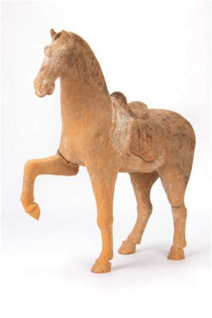 Chinese Tang Dynasty Pottery Saddled Horse