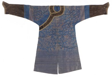 Antique Chinese Imperial Blue Silk Dragon Robe, Qing D.