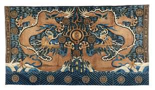 """Fine Large Double Dragon Embroidery, Qing D., 126"""" x"""