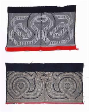Two Hua Yao Embroidered Cotton Skirt Panels, 20 C.