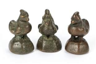 Three Antique Burmese Bronze Opium Bird Weights,