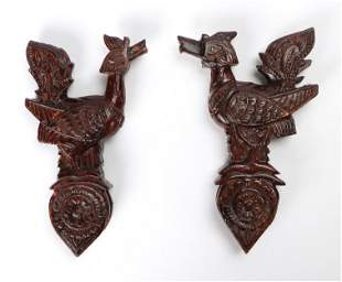 Pair of Cambodian Carved Wood Loom Pulleys, 20th C.