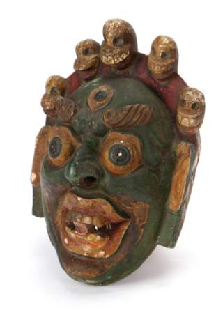 Nepalese Newari Painted Wood Festival Mask, Early 20th