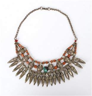 Ladakh Silver, Turquoise and Coral Necklace, early-mid