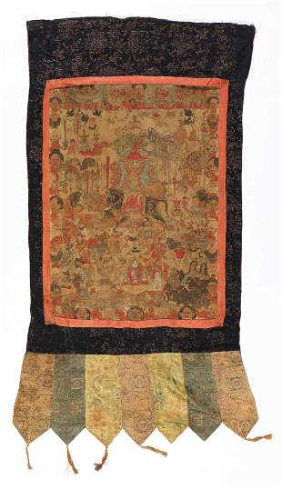 Fine Antique Tibetan Thangka with Disembodied Heads
