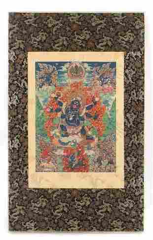 Antique Tibetan Thangka of a Blue Yidam Vajrakumara