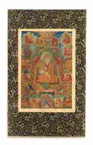 Antique Tibetan Thangka, Life of Buddha