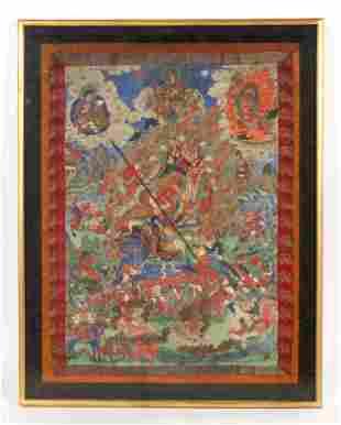 Antique Tibetan Thangka of Mahakala as Dharmapala