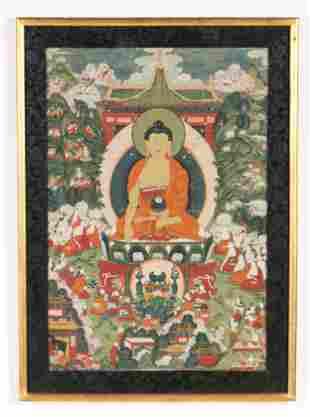 Antique Tibetan Thangka of Buddha Shakyamuni