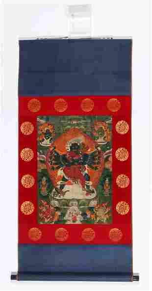 Antique Tibetan Thangka with Chakrasamvara and