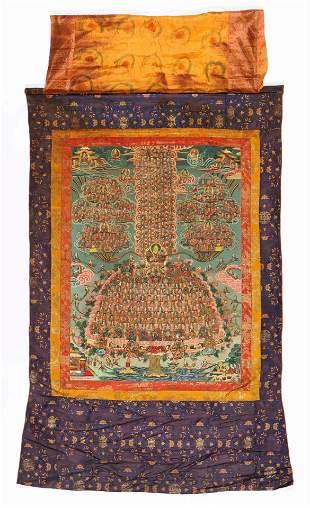 Vintage Tibetan Thangka of the Gelugpa Refuge Tree